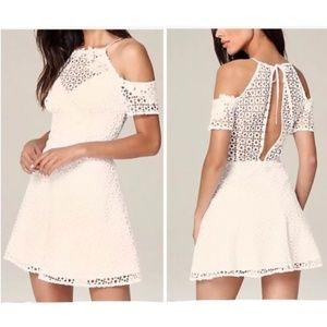 Bebe Kylie Cold Shoulder Crochet/Lace Dress